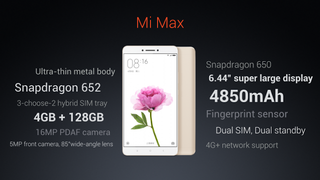 Xiaomi Mi Max Specifications