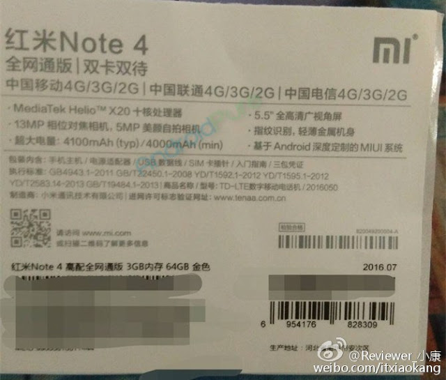Redmi Note 4 Leaked