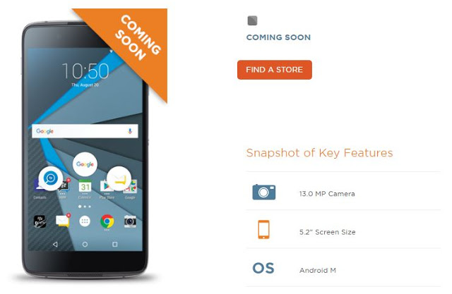 "Wind Mobile Listed BlackBerry DTEK50 As "" Coming Soon """