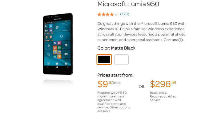 Grab AT&T Lumia 950 For Less Than $300
