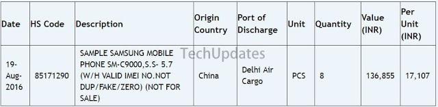 Samsung Galaxy On7 Zauba Listing