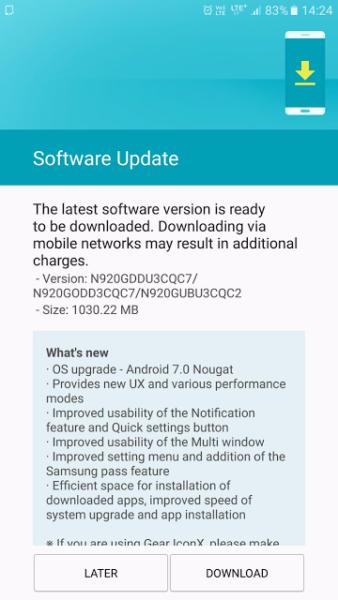 Galaxy Note 5 Nougat Update