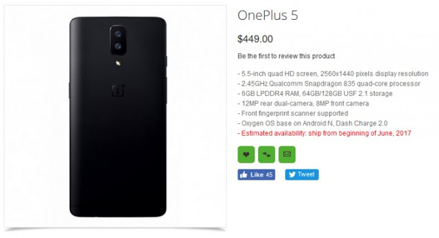 OnePlus 5 Listed On OppoMart