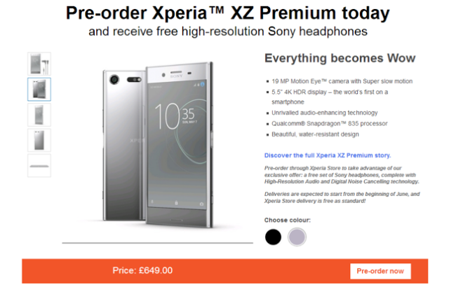 Sony Xperia XZ Premium Pre-Order Begins In Europe