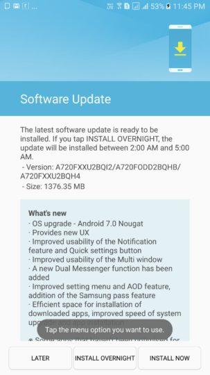 Samsung Galaxy A7 Update