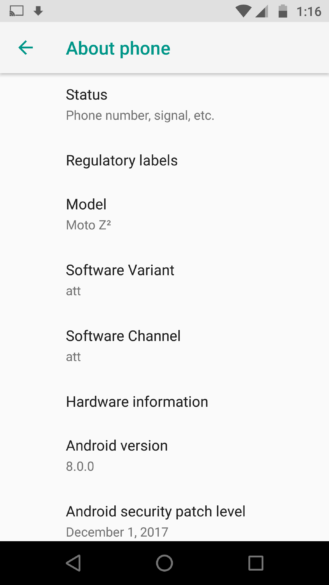 Oreo For Moto Z2 Force