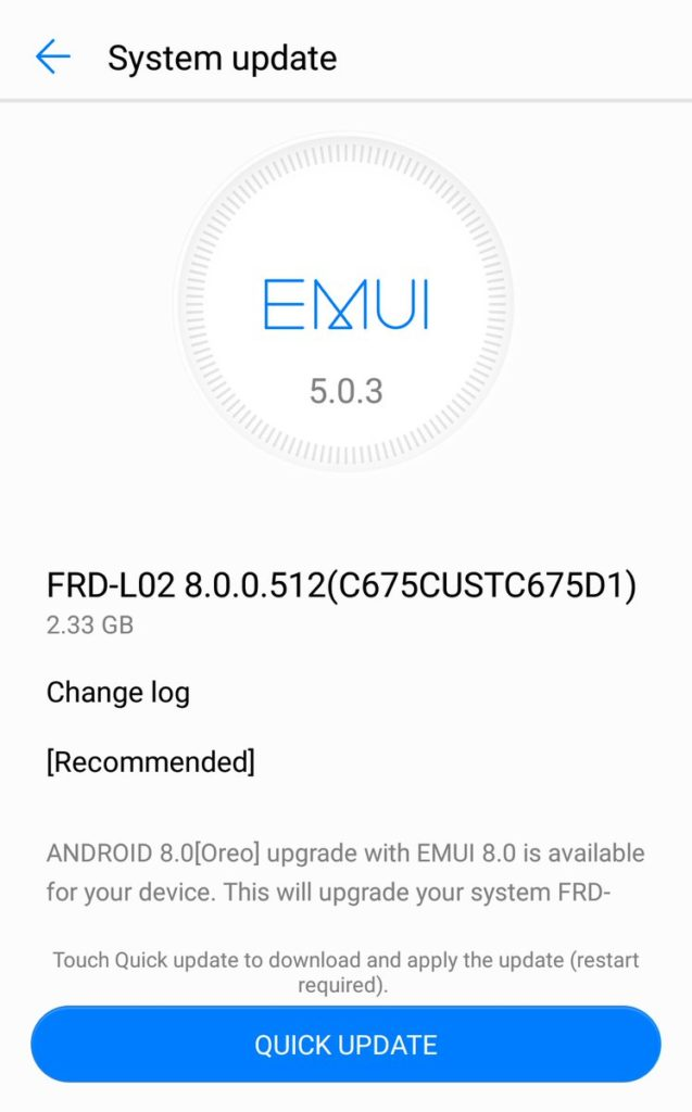 Honor 8 Oreo Update